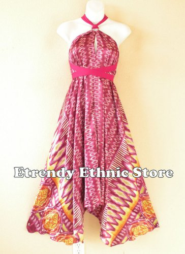 1D110 Versatile Geometric Silk Multi Wear Scarf Women Maxi Halter Dress Maternity