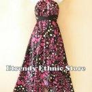 1D115 - Versatile Pink Silk Multi Wear Scarf Women Maxi Halter Dress Maternity