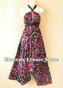 1D115 - Versatile Pink Silk Multi Wear Scarf Women Maxi Halter Dress Maternity