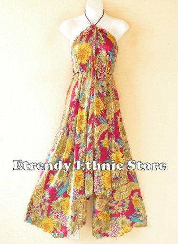 2D109 - Cranberry Versatile Silk Multi Scarf Women Maxi Dress, Skirt, Maternity