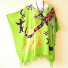 Green Women Batik Kaftan Caftan Batwing Maternity Dolman Blouse Top - 2X to 5X