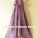2D36 - Purple Paisley Silk Multi Wear Scarf Long Maxi Dress, Skirt, Maternity