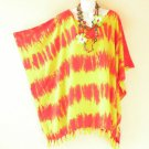 Tie Dye Plus Size Kaftan Tunic Gypsy Boho Hippy Women Beach Blouse - 2X to 5X
