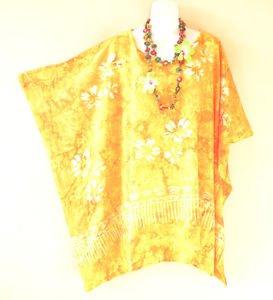 Hibiscus Hippy Women Batik Kaftan Caftan Poncho Dolman Tunic Blouse - 2X to 5X