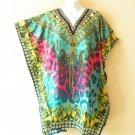 Turquoise Kaftan Women Viscose Batwing Poncho Empire Tunic Blouse Top - 2X / 4X