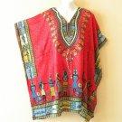 Red Tribal Kaftan Digital Printed Viscose Batwing Women Empire Tunic Top 4X / 5X
