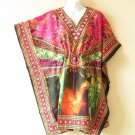 Pink Kaftan Digital Printed Viscose Batwing Dolman Empire Tunic Top - 3X or 4X