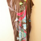 KD102 Brown Floral Women Kaftan Caftan Batwing Tunic Dolman Maxi Dress M to XL