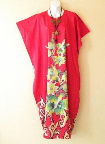 KD56 Red Floral Women Kaftan Caftan Batwing Summer Dolman Maxi Dress L to 2X
