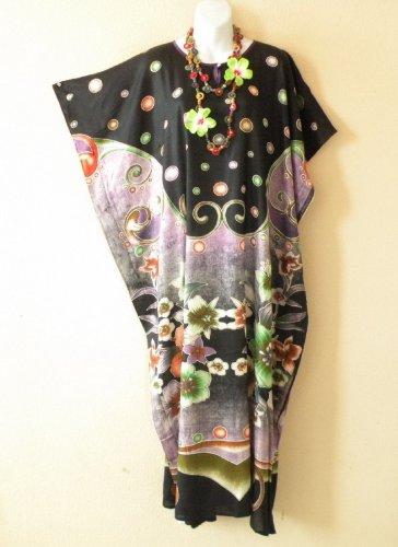 KD73 Purple Women Kaftan Caftan Batwing Tunic Abaya Dolman Maxi Dress L to 2X