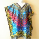 Blue Kaftan Digital Printed Viscose Batwing Women Empire Tunic Top - 2X / 5X