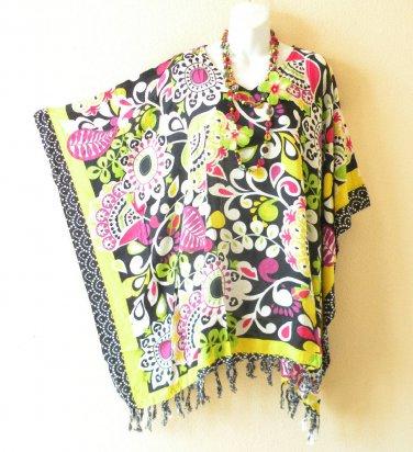 KB93 Abstract Plus Size Women Batik Kaftan Poncho Dolman Tunic Top - XL to 3X