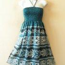 TS12 Silk Halter Women Bohemian Tube Smocked Broomstick Dress / Skirt - XS to XL