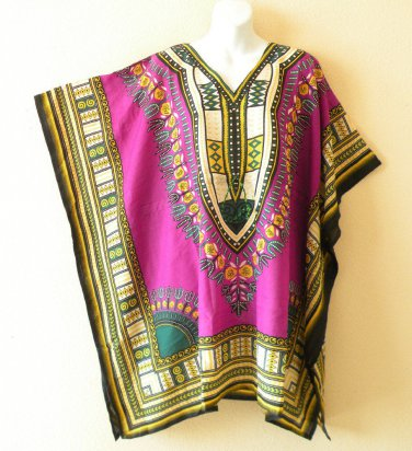 Purple Kaftan Digital Printed Viscose Batwing Women Empire Tunic Top - 2X / 5X
