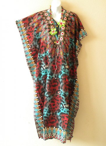 EL1 Kaftan Abstract Printed Viscose Batwing Dolman Empire Maxi Tunic - XL 1X & 2X