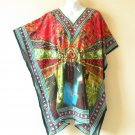 Red Kaftan Digital Printed Viscose Batwing Women Empire Tunic Top - 3X / 4X