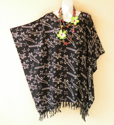 Black Plus Gecko Women Batik Kaftan Poncho Dolman Poncho Tunic Top - 2X to 5X