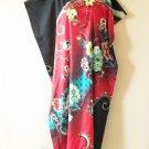 KD77 Red Floral Women Kaftan Caftan Batwing Maternity Dolman Maxi Dress L to 2X