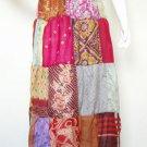 Boho Peasant Hippie Gyspy Multi print Patchwork 4 Tiered Silk Skirt - XS, S & M