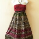 TS14 Women Embroidered Halter Tube Smocked Broomstick Dress / Skirt - XS to XL