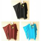 Plain Solid Plus Kaftan Kimono Poncho Fringes Hippie Blouse Top - XL, 1X, 2X, 3X
