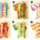 Tie Dye Batik Plus Kaftan Kimono Poncho Dolman Hippie Blouse Top 1X, 2X, 3X, 4X