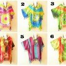 Tie Dye Batik Plus Kaftan Kimono Poncho Fringes Hippie Blouse Top 2X, 3X, 4X, 5X