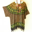 KB686 Women Tribal Plus Caftan Poncho Kimono Tunic Blouse Top - 2X, 3X, 4X, 5X