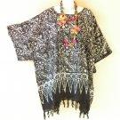KB685 Hippie Batik Caftan Poncho Kimono Tassel Tunic Blouse Top - 2X, 3X, 4X, 5X