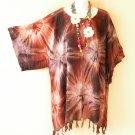 KB647 Brown Tie Dye Batik Kaftan Poncho Kimono Tunic Blouse Top - XL, 1X, 2X, 3X