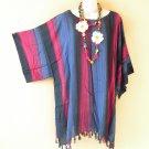 KB656 Tie Dye Stripes Kaftan Poncho Kimono Tunic Blouse Top - XL, 1X, 2X, 3X