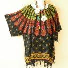 Black Batik Paisley Kimono Batik Kaftan Caftan Poncho Dolman Tunic Top -2X to 5X
