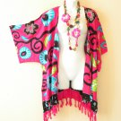 CB196 Floral Cardigan Duster Kimono Sleeve Hippy Jacket Cover up Top - up to 3X
