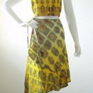 Two Piece Women Boho Tie & Dye Halter Sexy Summer Top & Wrap Skirt Suit Set - S