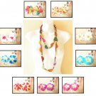 Women Hawaiian Luau Party Ethnic Wooden Crafted Chains Long Lei Necklace Flowers