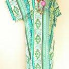 KD183 Green Caftan Kimono Sleeve Tunic Hippie Long Maxi Dress - L, XL, 1X, 2X