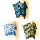 Batik Dolman Boho Floral Plus Women Kaftan Poncho Hippy Women Blouse Top M to 1X