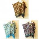 Floral Batik Bohemian Plus Caftan Hippie Poncho Tunic Women Blouse Top -XL to 3X