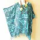 KB39 Paisley Women Batik Kaftan Poncho Dolman Tunic Blouse Top - L, XL, 1X, 2X