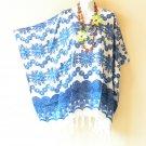 White & Blue Floral BATIK Kaftan TUNIC Poncho Blouse Shirt Top XL5 - M, L & XL