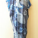 Blue Batik Women Cotton Plus Caftan Kaftan Dolman Hippy Dress KD410- XL, 1X & 2X
