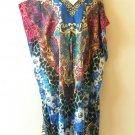 Blue Pink Digital Kaftan Women Viscose Empire Waist Maxi Dress EL64 - L, XL & 1X