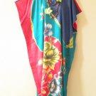 Batik Floral Plus Size Caftan Kaftan Tunic Hippy Dress KD79 - L, XL, 1X & 2X