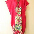 Red Batik Floral Plus Size Caftan Abaya Tunic Hippy Dress KD56- L, XL, 1X & 2X