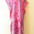 Pink Batik Women Cotton Plus Caftan Kaftan Abaya Dolman Dress KD403 L, XL & 1X