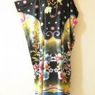 Batik Floral Plus Size Dolman Kaftan Tunic Hippy Maxi Dress - L, XL, 1X & 2X