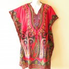 Red Dashiki Digitally Printed Kaftan Viscose Empire Waist Tunic ET35 -XL,1X & 2X