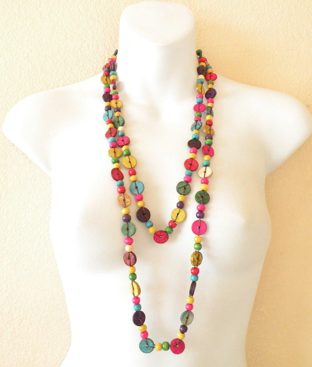 "Multicolor Luau Lei Party Beaded Ethnic Hawaiian Chain Chunky 60"" Necklace - B2"