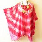 Pink Tie Dye Plus Size Caftan Kaftan Tunic Poncho Blouse Top - 1X, 2X, 3X & 4X