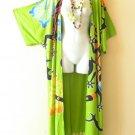 CD 324 Green Plus Cardigan Duster Jacket Kimono Maxi Cover up - 2X, 3X, 4X & 5X